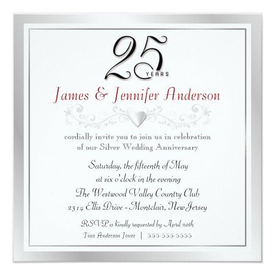 25th Anniversary Party Invitations Silver Square