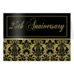 25th Anniversary Party Invite (Chaucer/black gold) Greeting Cards