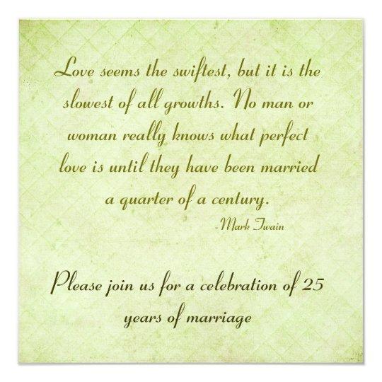 25th Anniversary Party Mark Twain Quote Invitation Zazzlecom