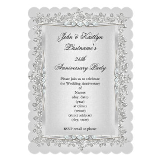 25th Anniversary Party Rose Damask Silver White 2 Card