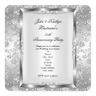 25th Anniversary Party Rose Damask Silver White 4 Card