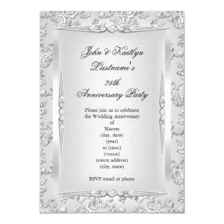 25th Anniversary Party Rose Damask Silver White Card