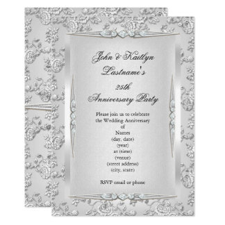 25th Anniversary Party Rose Damask Silver White Invitation
