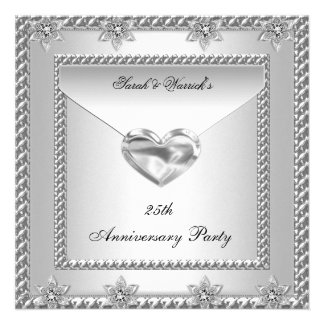 25th Anniversary Party Silver White Heart Jewel 4 Custom Invitations