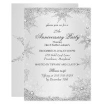 25th Anniversary Party Silver Winter Wonderland Invitation