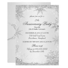 25th Anniversary Party Silver Winter Wonderland Invitation at Zazzle