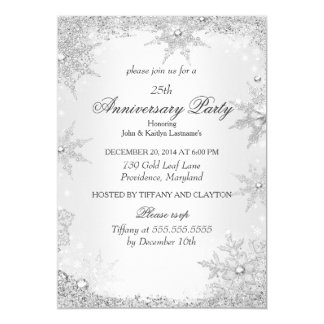 25th Anniversary Party Silver Winter Wonderland 5x7 Paper Invitation Card