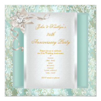 25th Anniversary Party Teal Damask Silver White Card