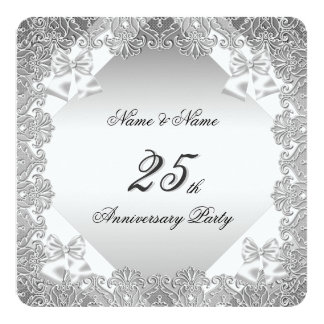 25th Anniversary Party White Silver Lace Card