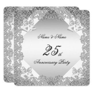 25th Anniversary Party White Silver Lace Invitation