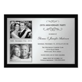 """25th Anniversary Past & Present Photo Invitations 4.5"""" X 6.25"""" Invitation Card"""