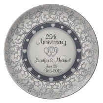 25th Anniversary Plate with Diamonds and Silver