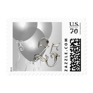 25th Anniversary Postage Stamp Silver Balloons