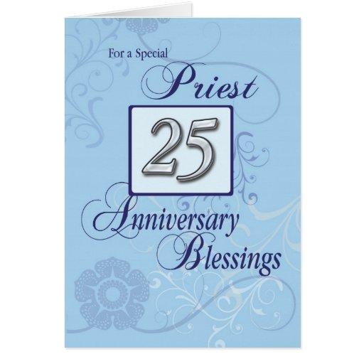 25th Anniversary Priest Blue Swirl Congratulations Greeting Card