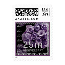 25th Anniversary PURPLE Roses SILVER Lace Postage