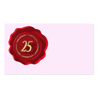 25th anniversary red wax seal business card