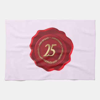 25th anniversary red wax seal kitchen towel