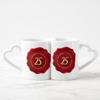 25th anniversary red wax seal couples mug