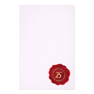 25th anniversary red wax seal stationery