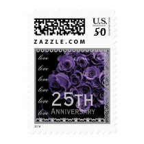 25th Anniversary ROYAL PURPLE Roses SILVER Lace Postage