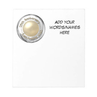"""25th Anniversary (""""Silver"""" and """"Pearl"""" '3-D') Memo Note Pad"""