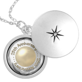 "25th Anniversary (""Silver"" and ""Pearl"" '3-D') Round Locket Necklace"