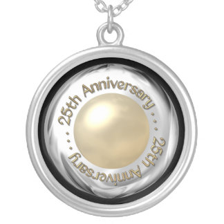 "25th Anniversary (""Silver"" and ""Pearl"" '3-D') Round Pendant Necklace"