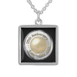 "25th Anniversary (""Silver"" and ""Pearl"" '3-D') Square Pendant Necklace"