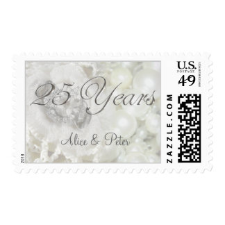 25th Anniversary Silver and White Wedding Jewels Postage Stamp