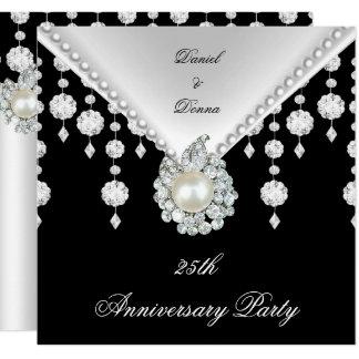 25th Anniversary Silver Black White Pearl 2 Invitation