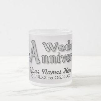 25th Anniversary - Silver - Customize Frosted Glass Coffee Mug