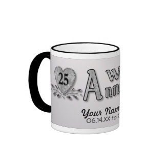 25th Anniversary - Silver - Customize Ringer Coffee Mug