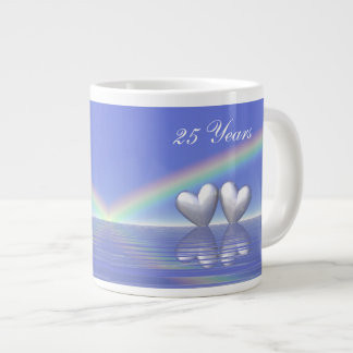 25th Anniversary Silver Hearts 20 Oz Large Ceramic Coffee Mug