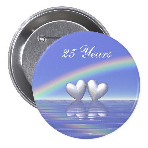 25th Anniversary Silver Hearts 3 Inch Round Button