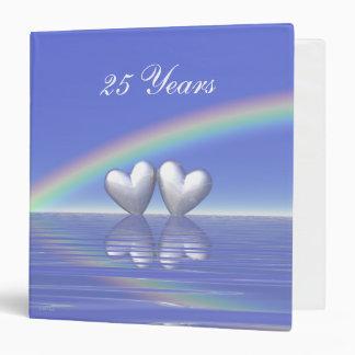 25th Anniversary Silver Hearts 3 Ring Binder