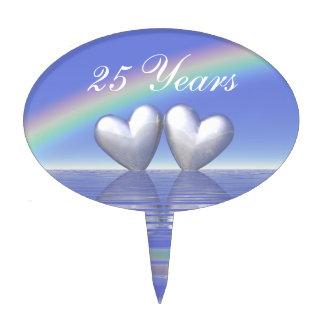 25th Anniversary Silver Hearts Cake Topper