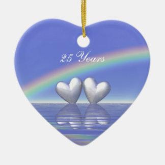 25th Anniversary Silver Hearts Ceramic Ornament