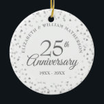 """25th Anniversary Silver Hearts Ceramic Ornament<br><div class=""""desc"""">Designed to coordinate with our 25th Anniversary Silver Hearts collection. Featuring delicate silver hearts. Personalise with your special twenty-five years silver anniversary information in chic silver lettering. Designed by Thisisnotme©</div>"""