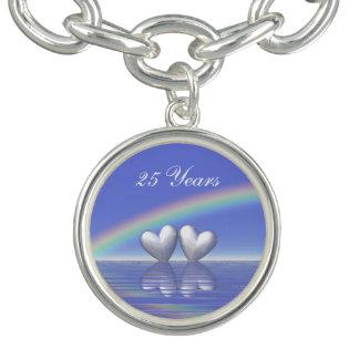 25th Anniversary Silver Hearts Charm Bracelet