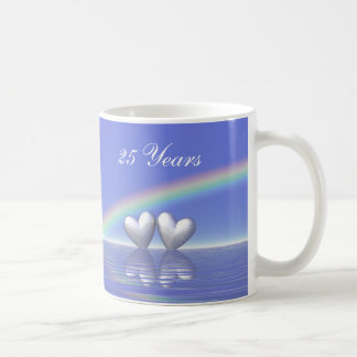 25th Anniversary Silver Hearts Classic White Coffee Mug