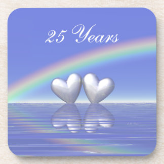 25th Anniversary Silver Hearts Drink Coasters