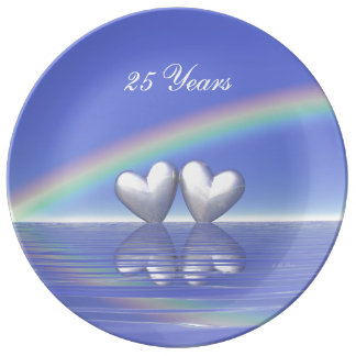 25th Anniversary Silver Hearts Dinner Plate