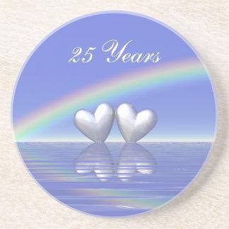 25th Anniversary Silver Hearts Drink Coaster