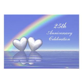25th Anniversary Silver Hearts Invitation