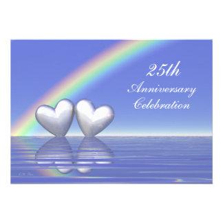 25th Anniversary Silver Hearts Personalized Invitation