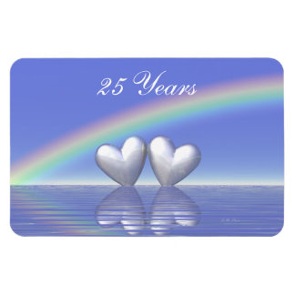 25th Anniversary Silver Hearts Magnet