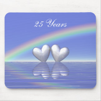 25th Anniversary Silver Hearts Mouse Pad