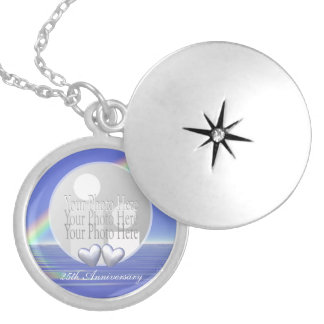 25th Anniversary Silver Hearts (photo frame) Round Locket Necklace
