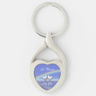 25th Anniversary Silver Hearts Silver-Colored Heart-Shaped Metal Keychain