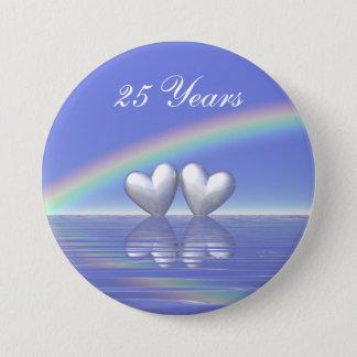 25th Anniversary Silver Hearts Pinback Button
